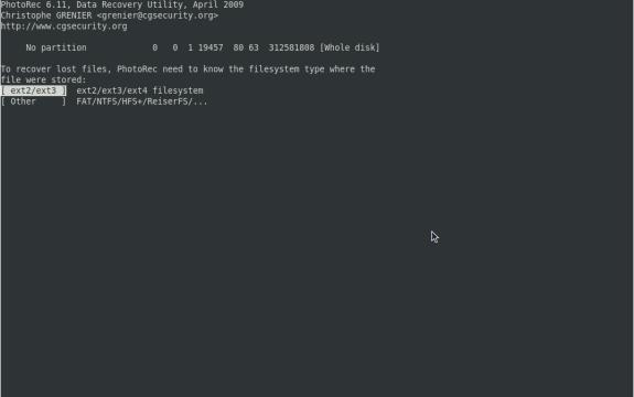 Filesystem type